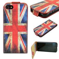Флип-кейс на Apple iPhone 5/5S, кожа, магнитный с язычком, британский флаг
