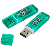 Память USB 2.0 Flash, 64GB, Smart Buy Glossy series Green