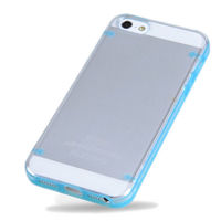 Чехол-накладка на Apple iPhone 5/5S, пластик, голубой, флюорисцентный
