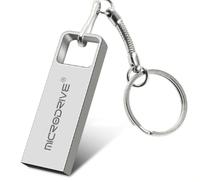 Память USB 2.0 Flash, 32GB, MicroDrive, с кольцом, серебристый