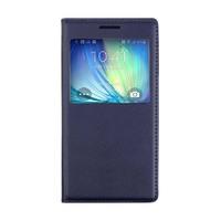 Чехол-книжка на Samsung A3 кожа, S-view, синий