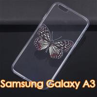 Чехол-накладка на Samsung A3 силикон, ультратонкий, бабочка
