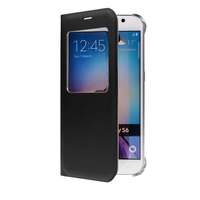 Чехол-книжка на Samsung S6 Edge кожа, S-View, черный