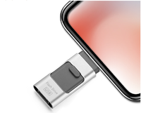 Память USB 2.0 Flash, 64GB, FlashDrive, OTG для iPhone, Androis, PC, серебристый