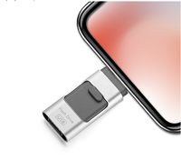 Память USB 2.0 Flash, 16GB, FlashDrive, OTG для iPhone, Androis, PC, серебристый