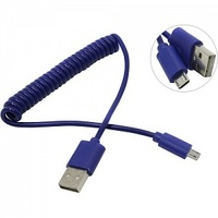 Кабель microUSB Smart Buy (iK-12sp), витой, синий, 1м