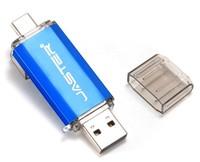 Память USB 2.0 Flash, 32GB, JASTER, OTG Type-C, синий