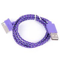 Кабель для iPhone 4/4S, iPad 2,3, iPod, переплет, фиолетовый, 1м