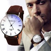 Часы наручные Yazole, ц.белый, р.коричневый, кожа