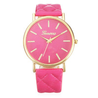 Часы наручные Geneva, ц.розовый, р.ярко-розовый, кожа