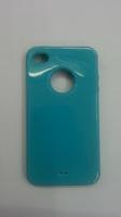 Чехол-накладка на Apple iPhone 4/4S, силикон, вырез, бирюзовый