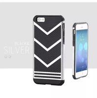 Чехол-накладка на Apple iPhone 6/6S Plus, силикон, черно-серебристый