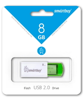 Память USB 2.0 Flash, 8GB, Smart Buy Click Green