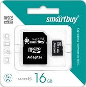 Карта памяти MicroSDHC 16GB Smart Buy, Class 4 (с SD адаптером)