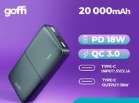 Портативный аккумулятор 20000mAh, Goffi GF-PB-20PDBLK, 2xUSB(mUSB, TypeC), QC3.0, PD, черный