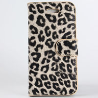 Чехол-книжка на Apple iPhone 5/5S, полиуретан, leopard