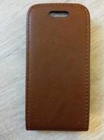 Флип-кейс на Apple iPhone 5/5S, кожа, магнитный, с язычком, коричневый