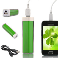 Портативный аккумулятор PowerBank 2600mAh, стекло, зеленый