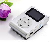 MP3-плеер с дисплеем, клипса, microSD, (без кабеля, без наушников), серебристый