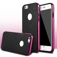 Чехол-накладка на Apple iPhone 6/6S, силикон, бампер, под кожу, черный