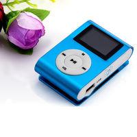 MP3-плеер с дисплеем, клипса, microSD, (без кабеля, без наушников), синий