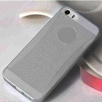 Чехол-накладка на Apple iPhone 4/4S, силикон, блестящий, серый