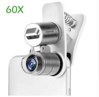 Микроскоп для смартфона, 60x, подсветка, прищепка