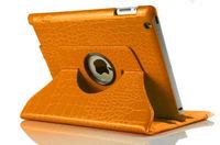 Чехол Smart-cover для Apple iPad mini 1,2,3, иск. крокод.кожа, вращающийся, оранжевый