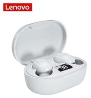 Гарнитура беспроводная, TWS Lenovo XT91, Bluetooth 5.0, Type-C, 40/300Mah, LCD, вакуумная, белый