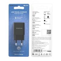 Сетевое зарядное устройство USB, Borofone BA20 Sharp, 2.1A, 1xUSB, черный