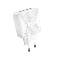 Сетевое зарядное устройство USB, Borofone BA45A Max, 2.4A, 2xUSB, белый