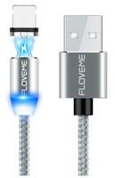 Кабель для iPhone 8pin, Floveme, магнитный, переплет, светящийся, серебристый, 1м