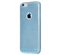 Чехол-накладка на Apple iPhone 6/6S, силикон, блестящий, кристаллы, голубой