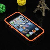 Бампер на Apple iPhone 5/5S, силикон, пластик, черно-оранжевый