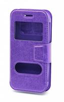 """Чехол-книжка универсальная, силик.бампер, S-view 4.5"""", фиолетовый"""