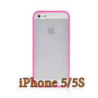 Чехол-накладка на Apple iPhone 5/5S, силикон, пластик, бампер, матовый, ярко-розовый