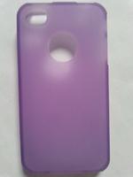Чехол-накладка на Apple iPhone 4/4S, силикон, вырез, матовый,  фиолетовый