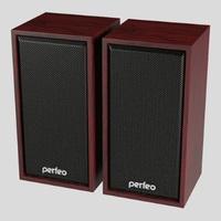 Активные колонки 2.0, Perfeo Cabinet (PF_A4388), 2x3W, дерево, махагон