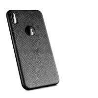 Чехол-накладка на Apple iPhone X/Xs, силикон, под кожу, с вырезом, черный