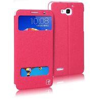 Чехол-книжка для Huawei Honor 3X кожа, розовый