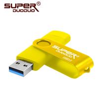 Память USB 3.0 Flash, 16GB, SuperDuoDuo, OTG microUSB, желтый