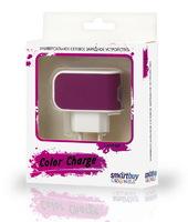 Сетевое зарядное устройство USB, Smart Buy COLOR CHARGE, 2.1A, 1xUSB, фиолетовый (SBP-8030)