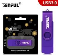 Память USB 3.0 Flash, 16GB, BiNFUL, OTG microUSB, фиолетовый