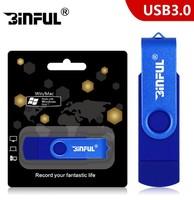 Память USB 3.0 Flash, 16GB, BiNFUL, OTG microUSB, синий