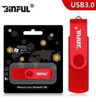 Память USB 3.0 Flash, 16GB, BiNFUL, OTG microUSB, красный