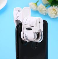 Микроскоп для смартфона, 60x, подсветка, уф, прищепка, белый