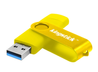 Память USB 3.0 Flash, 16GB, KingStick, OTG microUSB, желтый