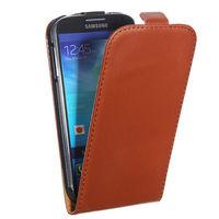 Флип-кейс на Samsung S4 кожа, магнитный с язычком, коричневый