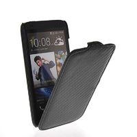 Флип-кейс на HTC Desire 601 кожа, карбон, черный