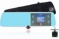 """Видеорегистратор зеркало с камерой заднего вида TDS-CAR40, FHD, 5"""" IPS сенсор, + салонная камера"""